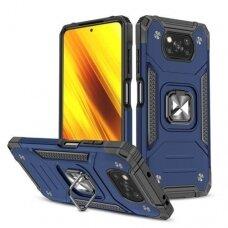 Akcija! Xiaomi Poco X3 NFC dėklas Wozinsky Ring Armor tamsiai mėlynas
