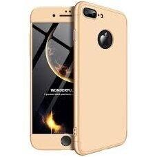 Akcija! iPhone 7/ 8 HURTEL dėklas dvipusis 360 plastikas auksinis