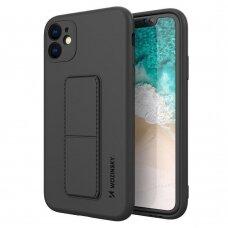 Akcija! Iphone 12 mini dėklas WOZINSKY KICKSTAND juodas
