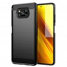 Akcija! Xiaomi POCO x3 nfc dėklas carbon lux silikonas juodas