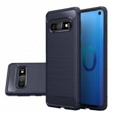 Akcija! Samsung Galaxy S10 dėklas carbon lux silikonas tamsiai mėlynas