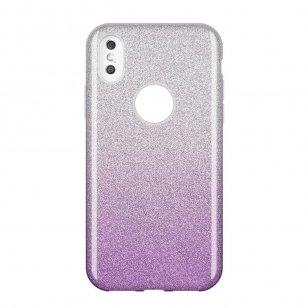 Glitzer Hülle für huawei y6 2019 Glitter Silikon silbern-lila