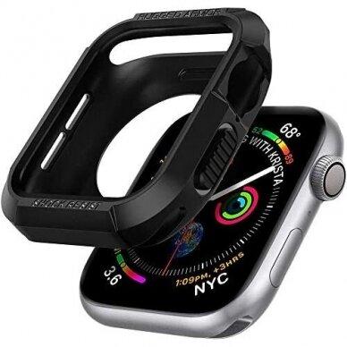 Akcija! Apple Watch 4 silikoninė laikrodžio apsauga Spigen Rugged Armor juoda
