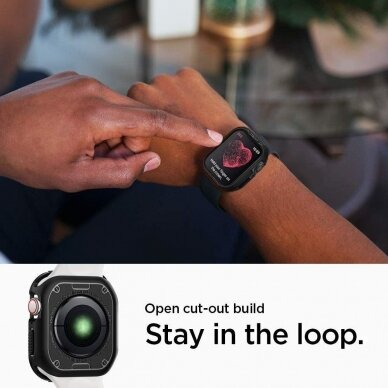 Akcija! Apple Watch 4 silikoninė laikrodžio apsauga Spigen Rugged Armor juoda 3
