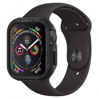 Akcija! Apple Watch 4 silikoninė laikrodžio apsauga Spigen Rugged Armor juoda 2