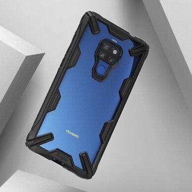 Akcija! Huawei Mate 20 dėklas Ringke Fusion X PC with TPU Bumper skaidrus juodais kraštais 2