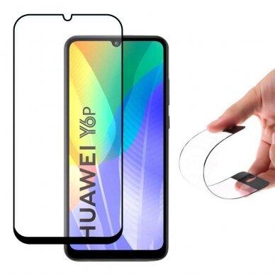 Akcija! Huawei Y6P GRŪDINTO STIKLO EKRANO APSAUGA TEMPERED GLASS, NANO FLEXIBLE GLASS JAUODAIS KRAŠTAIS 2