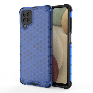 Akcija! Samsung Galaxy A52 dėklas Honeycomb armor TPU Bumper mėlynas-permatomas