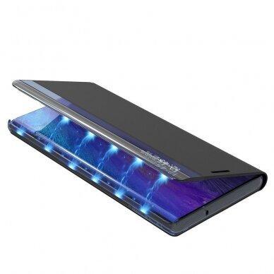 akcija! samsung galaxy S21 ultra atverčiamas išmanus dėklas New Sleep Case mėlynas 4