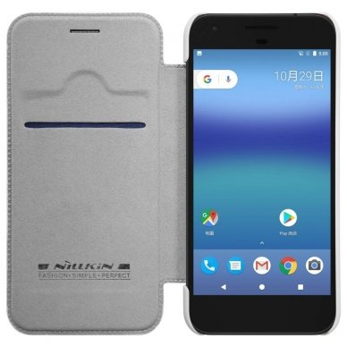 Google Pixel Atverčiamas dėklas Nillkin QIN TIKRA ODA baltas 3
