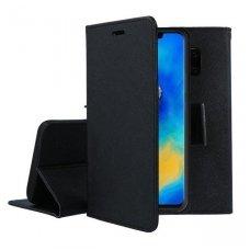 Huawei mate 20 pro atverčiamas dėklas pu oda Smart Fancy juodas