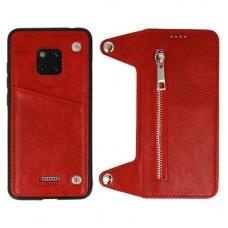akcija! Huawei Mate 20 pro dviejų dalių atverčiamas dėklas piniginė BUSINESS ZIP 2in1 Odinis raudonas