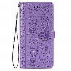xiaomi redmi 9c atverčiamas dėklas Cat-Dog PU oda purpurinis