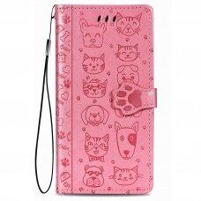 xiaomi redmi 9 atverčiamas dėklas Cat-Dog PU oda rožinis