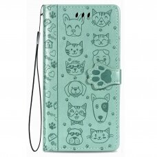 Akcija! Huawei P30 lite atverčiamas dėklas Cat-Dog PU oda žalias