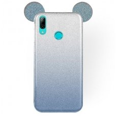 Huawei P smart 2019 dėklas Bling Mouse silikonas sidabrinis-mėlynas