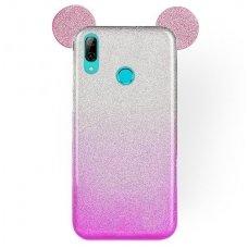 Huawei P smart 2019 dėklas Bling Mouse silikonas sidabrinis-rožinis