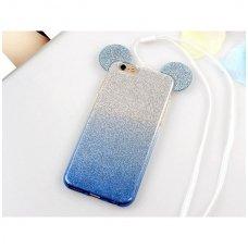 Huawei Y5 2018 dėklas Bling Mouse silikonas sidabrinis-mėlynas