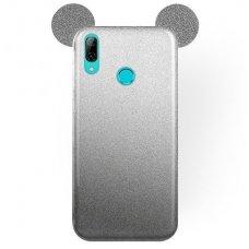 Huawei P smart 2019 dėklas Bling Mouse silikonas sidabrinis-juodas