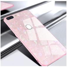 huawei p smart 2019 dėklas marble glass grūdintas stiklas+tpu rožinis