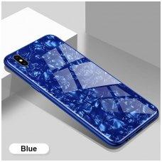 huawei p smart 2019 dėklas marble glass grūdintas stiklas+tpu mėlynas