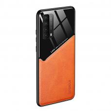 huawei p smart 2021 dėklas su įmontuota metaline plokštele LENS case oranžinis