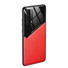 huawei p smart 2021 dėklas su įmontuota metaline plokštele LENS case raudonas