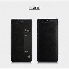 Huawei P10 Atverčiamas dėklas Nillkin QIN TIKRA ODA JUODAS
