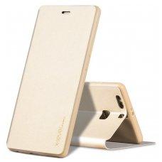 Huawei P10 atverčiams dėklas X-level fib eko oda aukso spalvos