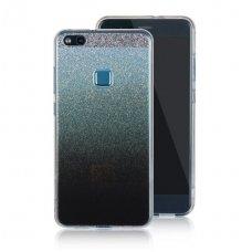 huawei p10 lite dėklas nugarėlė glitter silikoninis sidabrinis-juodas