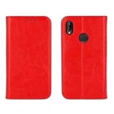 Huawei P20 Lite Atverčiamas dėklas Book Special Tikra Oda Raudonas