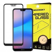 """Akcija! Huawei P20 LITE Lenktas apsauginis stiklas visam ekranui """"WOZINSKY 5D"""" Juodais kraštais"""
