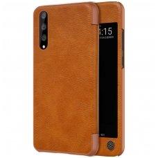 Huawei p20 pro atverčiamas dėklas Nillkin qin tikra oda rudas
