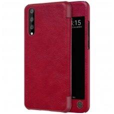Huawei p20 pro atverčiamas dėklas Nillkin qin tikra oda raudonas