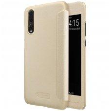 Huawei P20 pro atverčiamas dėklas Nillkin Sparkle pu oda aukso spalvos