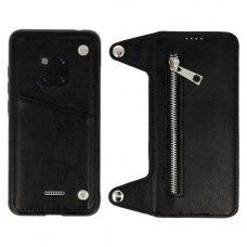 Huawei Mate 20 pro dviejų dalių atverčiamas dėklas piniginė BUSINESS ZIP 2in1 Odinis juodas