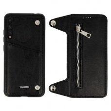 Huawei P20 PRO dviejų dalių atverčiamas dėklas piniginė BUSINESS ZIP 2in1 Odinis juodas