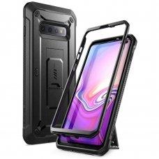 """Samsung Galaxy S10 Plus dvipusis smūgiams atsparus dėklas be priekinio stiklo """"Supcase Unicorn beetle Pro"""" juodas ypač tvirtas"""
