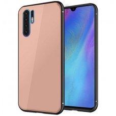 Huawei p30 pro dėklas GLASS CASE rožinis