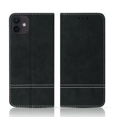 iPhone 12 atverčiamas dėklas/piniginė SMART SUEDE juodas
