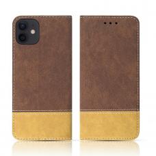 iPhone 12 Mini atverčiamas dėklas/piniginė SMART SUEDE rudas