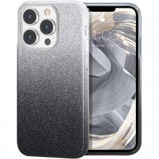 Iphone 13 pro max DĖKLAS GLITTER SHINE SILIKONINIS sidabrinis-juodas
