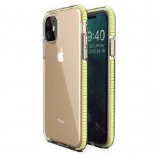 iphone 11 dėklas Spring Case  TPU  skaidrus geltonais kraštais