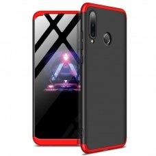 Akcija! Huawei P30 lite  HURTEL dėklas dvipusis 360 plastikas juodas-raudonas