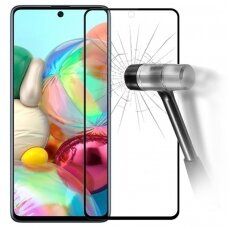 Akcija! Samsung A71 LCD apsauginis stikliukas juodais kraštais 3MK Hard Glass Max Finger Print