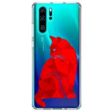"""Huawei P30 pro TPU dėklas unikaliu dizainu 1.0 mm """"u-case Airskin Red Cat design"""""""