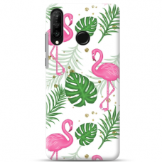 "Huawei P30 lite TPU dėklas unikaliu dizainu 1.0 mm ""u-case airskin Flamingos design"""