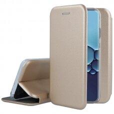 Akcija! Huawei P40 atverčiamas dėklas Book elegance odinis auksinis