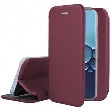 Akcija! Huawei P40 atverčiamas dėklas Book elegance odinis bordo