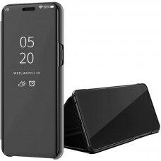 AKcija! Xiaomi Mi 10 lite ATVERČIAMAS DĖKLAS CLEAR VIEW VEIDRODINIU-PERMATOMU DANGTELIU juodas